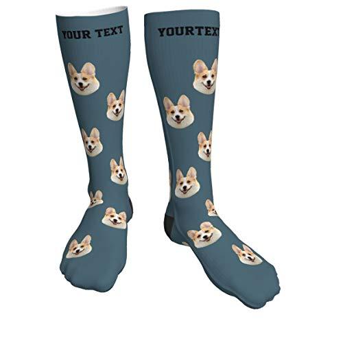 AUkaiqu12 Calcetines Personalizados con Cara, Calcetines con Foto de Cara de Mascota Personalizados Unisex, Calcetines Divertidos Con Foto, Excelente Regalo para Una Pareja Familiar (19.7in)