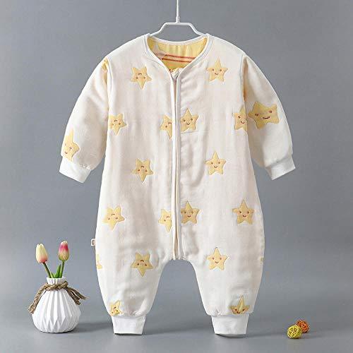 Baby-winterslaapzak, baby-katoenen gaas-slaapzak, klimpak, gespleten legging-gele sterren op white_90cm, baby-inbakerdoek warme wandelwagen-wrap