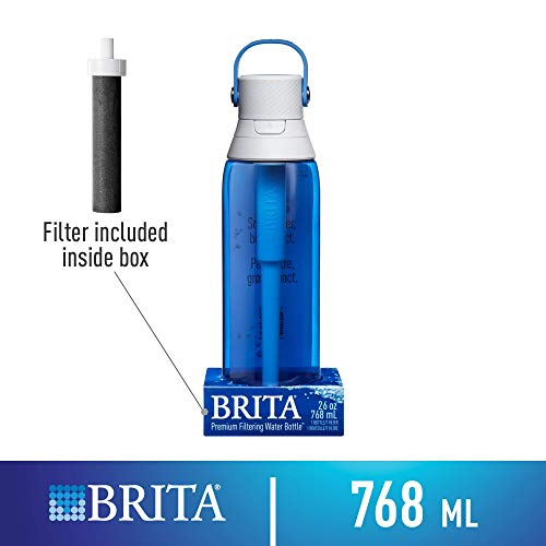 Brita 26 Ounce Premium Filtering Water Bottle with Filter - BPA Free - Sapphire