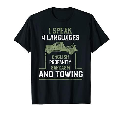 "Camisa de remolque divertida para remolque con texto en inglés ""Tow Truck Driver"" Camiseta"