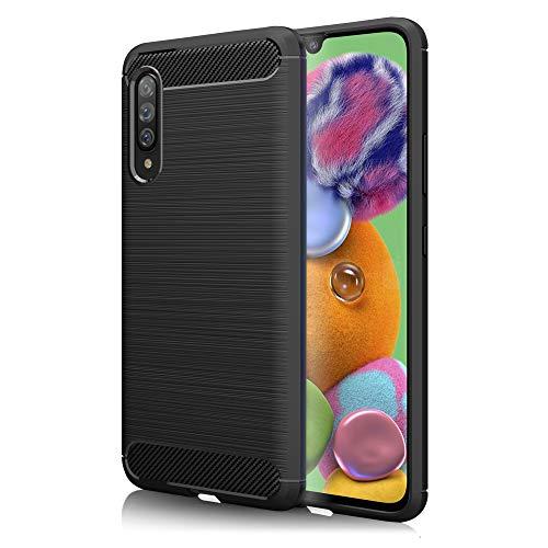 NALIA Design Hülle kompatibel mit Samsung Galaxy A90 5G Hülle, Carbon Erscheinungsbild Stylische Handyhülle Stoßfeste Silikon Schutzhülle, Dünne Handy-Tasche Phone Cover Bumper Soft Skin Etui Kratzfest - Schwarz