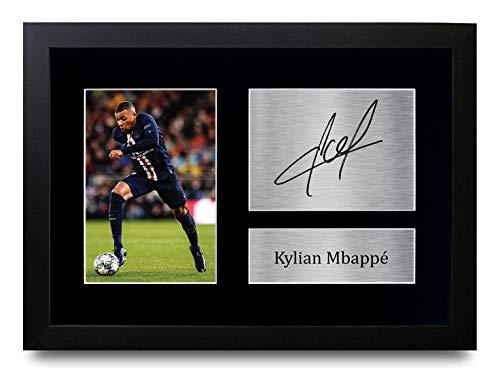 HWC Trading Kylian Mbappe A4 Gerahmte Signiert Gedruckt Autogramme Bild Druck-Fotoanzeige Geschenk Für Paris Saint-Germain PSG Fußball Fans