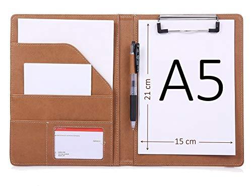 Portablocco A5 Blocco appunti portablocco portablocco in pelle supporto per blocco File Organizer con tasca interna Marrone