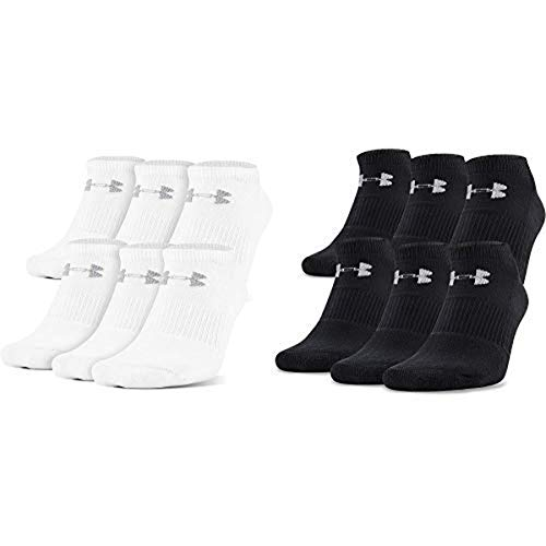 Under Armour Adult Charged Cotton 2.0 No Show Socks, 6-Pairs, White/Gray, Medium & Under Armour Adult Charged Cotton 2.0 No Show Socks, 6-Pairs, Black/Gray, Medium