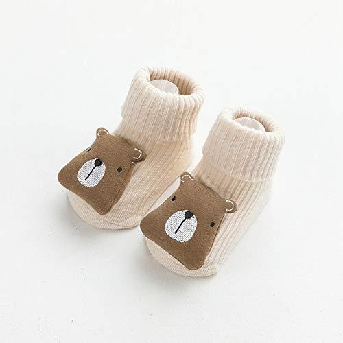 Otoño Invierno Suave algodón bebé niñas Calcetines recién Nacido Dibujos Animados Animales bebé Calcetines bebé niño Calcetines Antideslizantes Piso Primavera-Khaki bear-1-1-3 Years Old