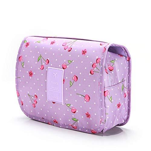 Gros Cubes d'emballage Mode étanche Voyage Capacité Sac de Rangement Crochet Portable Trousse de Toilette cosmétiques Accessoires de Mode Voyage (Color : PurpleCherry)