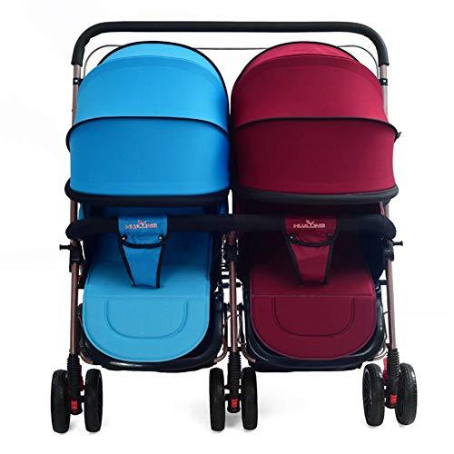 Lvbeis Zwillinge Kinderwagen Doppel Buggy Falten Kinderbuggy Leichte Kombiwagen,Color