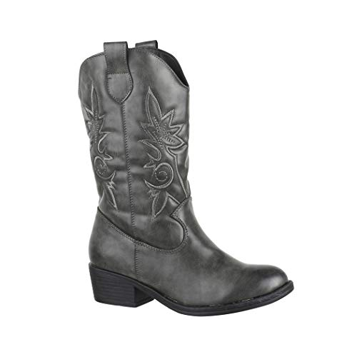 Elara Damen Cowboy Stiefel Biker Boots Chunkyrayan 7630-PG Grey-38