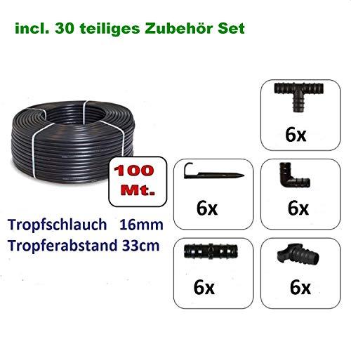 100M Tropfschlauch 16mm Perlschlauch Tropfrohr + 30 teiliges Zubehör (100Meter+Zubehör) Gartenbewässerung Gartenschlauch