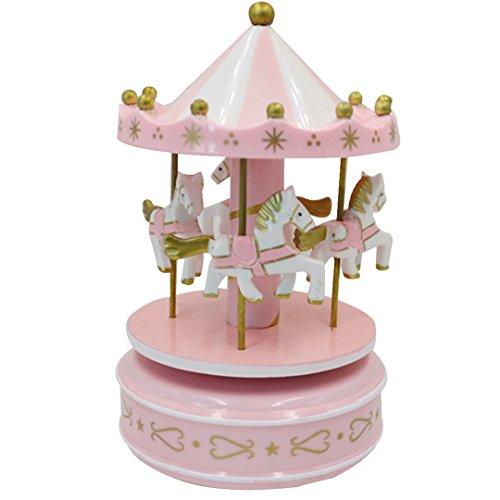ABBY Décorations Boîte à musique Carrousel créatif Enfant gâteau anniversaire de cuisson décoratif/Rose