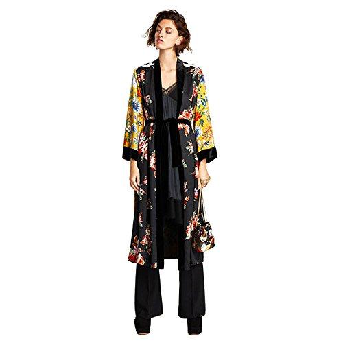 Cardigan Kimono Moda Mujer, LANSKIRT Mujeres Borla Floral de Bohemia Kimono Largo De Gran tamaño Tops de Mantón Camisa Blusa