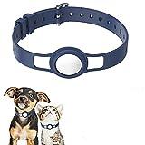 Xikangshun per Apple Air_Tag Custodia Protettiva in Silicone Cinturino per Collare Regolabile per Cani da Compagnia, Anello per Collare per Cani con Localizzatore GPS (White)