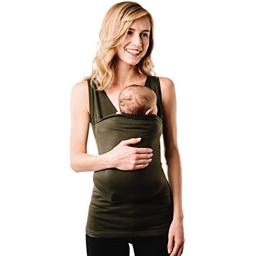 Battnot Damen umstandsmode blusen sommer känguru mama taschen ärmel bequemt schwangerschafts-top-tanktops xl grün