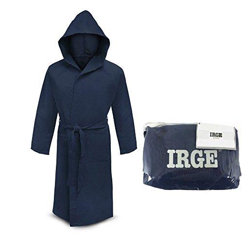 accappatoio microfibra IRGE con cappuccio e borsetta unisex (BLU, XL)
