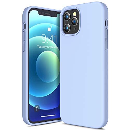 CANSHN Liquid Silikon Hülle Kompatibel mit iPhone 12 & 12 Pro 2020, Seidig Weiche Matte Gel Gummi mit Samtiger Microfaserinnenfutter Stoßfest Vollkörperschutz Hülle Handyhülle Schutzhülle - Hellblau