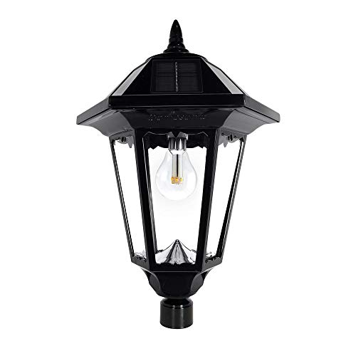 GAMA SONIC Windsor Bulb Solar Lamp Post, 96 Inch, Outdoor LED Solar In Ground Light, Black (GS-99B-S)