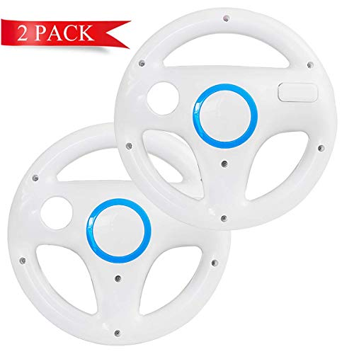 DOYO 2 Pack White Wheel Steering Wii Controller Design Stand Mario Kart Racing Game Steering Wheel Stand for Wii Game Controller Nintendo Wii