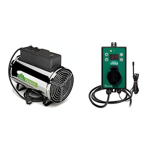 Bio Green Elektrogebläseheizung Phoenix, silber/schwarz - IP X4 Spritzwassergeschützt für Gewächshäuser & Green Digital-Thermostat, grün,  mit Sommer/Winter funktion IP X4 spritzwassergeschützt