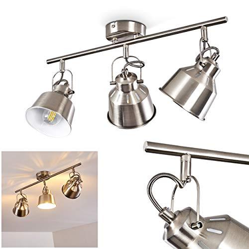Deckenleuchte Safari, Deckenlampe aus Metall in Stahl gebürstet/Weiß, 3-flammig, mit verstellbaren Strahlern u. Lichteffekt, 3 x E14-Fassung max. 40 Watt, Spot im Retro/Vintage Design, LED geeignet