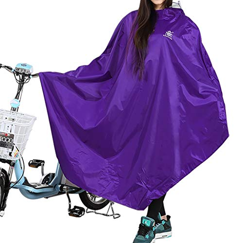 Grand Chapeau Transparent imperméable, Poncho d'équitation de Bicyclette électrique Simple Adulte (Couleur : Violet-XXL)
