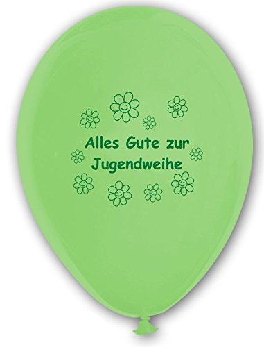 Unbekannt 10 Luftballons Alles Gute zur Jugendweihe, HELLGRÜN und WEIß, ca. 30 cm Durchmesser