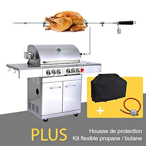 GREADEN- BBQ Grill Barbecue À Gaz INOX DÖNER 22KW- 4 BRÛLEURS+ 1 KIT RÔTISSOIRE (Infrarouge & TOURNEBROCHE)+ 1...