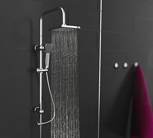 EISL EASY ENERGY Duschset, Duschsäule 2 in 1 mit großer Regendusche (176 x 176 mm) und Handbrause, ideal zum Nachrüsten durch Nutzung vorhandener Bohrlöcher, komplettes Montageset DX12004-A