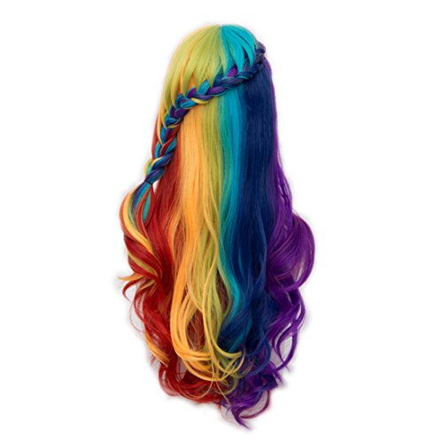 Alacos Rainbow Color 72cm Long Braid Curly Gothic Lolita Harajuku Anime Cosplay Christmas Costume Wigs for Women Kids +Free Wig Cap (Red/Yellow/Blue/Purple)
