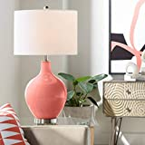 Modern Table Lamp Coral Reef Glass OVO White Linen Drum Shade for Living Room Family Bedroom Bedside Nightstand - Color + Plus