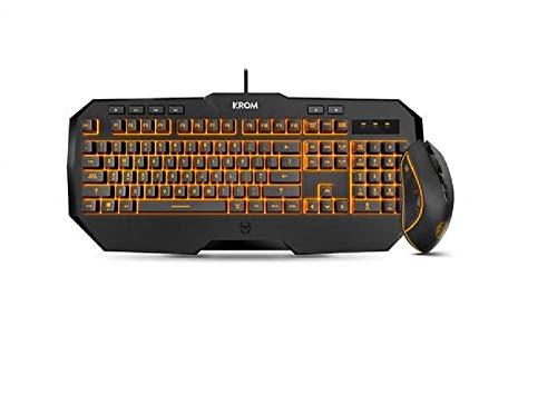 KROM Kodex - NXKROMKODEX - Pro Gaming Dual Kit con Teclado de Membrana y un raton con hasta 6 Niveles de dpi, Color Negro