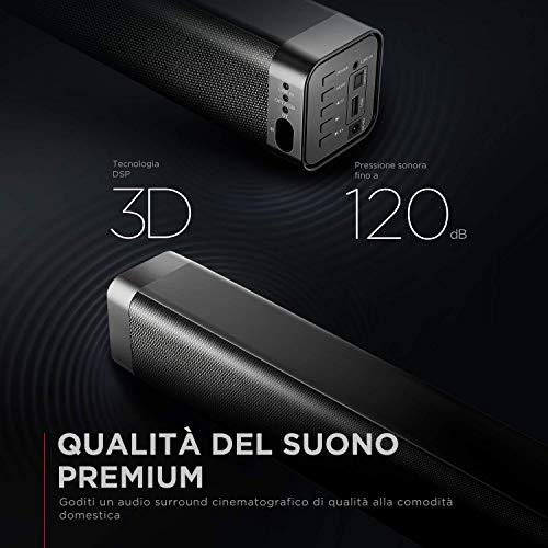 BOMAKER Soundbar TV, 120dB 37 Pollici, Barra Soundbar 2.0 Canali Bluetooth 5.0, Altoparlante Hi-Fi Suono Surround DSP/3D per Home Cinema, 4 Modalità di Audio EQ, Ottico/Aux/USB, 80W, ODINE Ⅰ