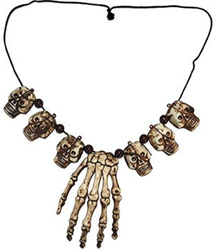 Kostüm Accessoires Zubehör Kannibalen Voodoo Halskette mit Knochen und Totenkopf, Necklace with Skulls and Bones, perfekt für Halloween Karneval und Fasching, Weiß