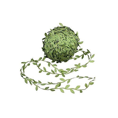 Allen R Floyd 132 ft Olive Green Leaves Leaf Trim Ribbon for DIY Craft Party Wedding Home Decoration (132 ft)