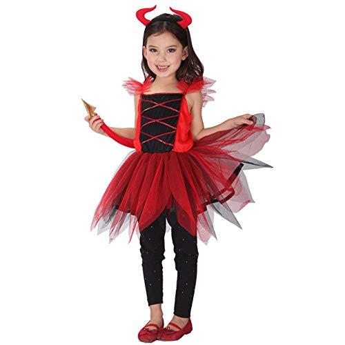 Ropa De Halloween Disfraz De Zombie Disfraz De Diablo De Cuerno Rojo Aterrador Para Niños, Disfraz De Demonio Para Niñas, Disfraz De Demonio, Disfraz De Cosplay, Disfraz De Horror De Halloween-Metro