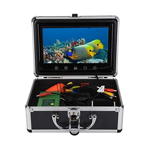 Fischfinder Kamera,ASHATA Unterwasser 30 LEDs 1000TVL Unterwasserfischerei Kamera,9 Zoll TFT Farbmonitor Fish Finder Unterwasserfischen Kamera Fischfinder mit Aluminiumbox EU(Schwarz)