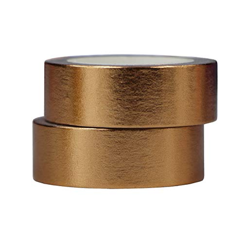 2 Rollen 10m x 15mm Washi Tape Set Deko Klebeband Glitter Metallic Goldfarbe DIY Scrapbook Basteln (Kupfer)