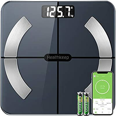 Bluetooth Body Fat Scales Smart Bathroom Scale Digital Body Weight Scales BMI Muscle Weighing Composition Analyzer with High Precision Wireless Monitor and Upgraded APP for Fitness (180 Kg / 28 St)