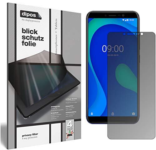 dipos I Sichtschutz-Folie matt kompatibel mit Wiko Y80 Blickschutzfolie Bildschirm-Schutzfolie Privacy-Filter (bewusst Kleiner als das Glas, da Dieses gewölbt ist)
