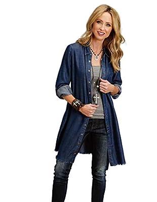 Stetson Western Dress Women L/S Denim Belt XS Blue 11-057-0565-1029 BU