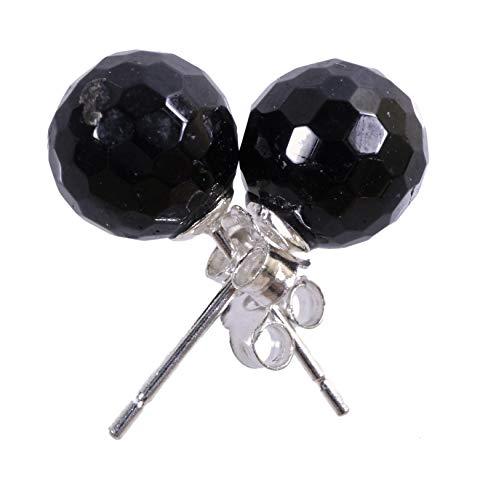 Negro Turmalina/schörl Pendientes 7MM Bolas en plata 925