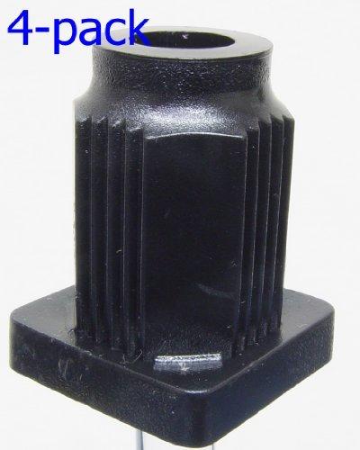 Oajen Caster Socket for 7/16' Diameter Grip Ring stem, 4-Pack, 1' OD Square Tube 16 Gauge, Heavy Duty, 7/8' Socket OD