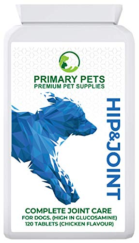 Primary Pets Premium Pet Supplies Suplementos para el Cuidado de Las articulaciones del Perro. 120 tabletas de glucosamina para Perros. Advanced Joint Aid con Glucosamina para Perros