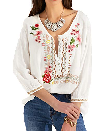 Mansy Womens Embroidered Tops 3/4 Sleeve Bohemian V Neck Loose Mexican Peasant Shirts Tunics Blouses