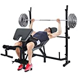 Standard Weight Bench, Olympic Barbell Weight Bench Dumbbell Weightlifting Bench Multifunctional Strength Training Benches With Preacher Curl Leg Developer and Crunch Handle
