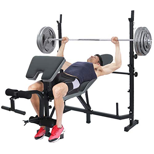 Adjustable Multi-Function Foldable Weight Bench and Fitness Barbell Rack Weight Lifting Support w/Leg Arm Training Equipment - Multi-Functional Home Gym Full-Body Strength Workout Exercise (Black Adjustable Bench)