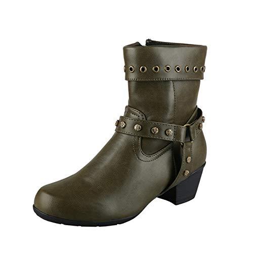 LGYKUMEG Damen Ankle Boots Motorradstiefel, Rundkopfnietstiefel, Alte Handgefertigte Damenstiefel,Grün,39