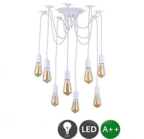 Lampada a sospensione Industriale bianco, ragno plafoniere lampadario Retro E27,vintage Edison Lampadario (8x E27)