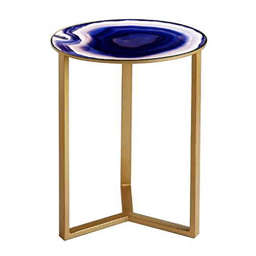 Chi Cheng Fang Electronic business Table Ronde en Fer forgé Miroir Verre Artisanat Artisanat canapé Quelques Coin Salon Chambre Petite Table Basse (Color : Gold 47 * 47 * 60cm)