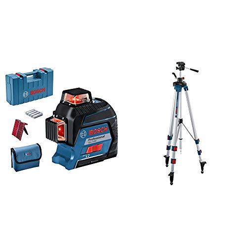 Bosch Professional Linienlaser GLL 3-80 (roter Laser, max. Arbeitsbereich: 30 m, 4x AA Batterie) & Baustativ BT 250 (Arbeitshöhe: 97,5-250 cm, Gewicht: 3,4 cm, Stativ-Gewinde: 1/4 Zoll)