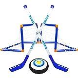 Set da Hockey Hover - 1 Sospensione di Hockey su Ghiaccio, 2 Porte, 2 reti da Goal, 1 Bastone da Hockey - Set di Hockey LED Elettrico da Interno per Palla da Allenamento ad Aria compressa per Ragazzi